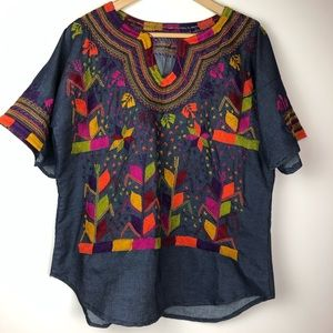 Tops - Denim Shirt with Colorful Embroidery